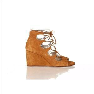 Zara brown caged wedge sandals 40 brown peep toe